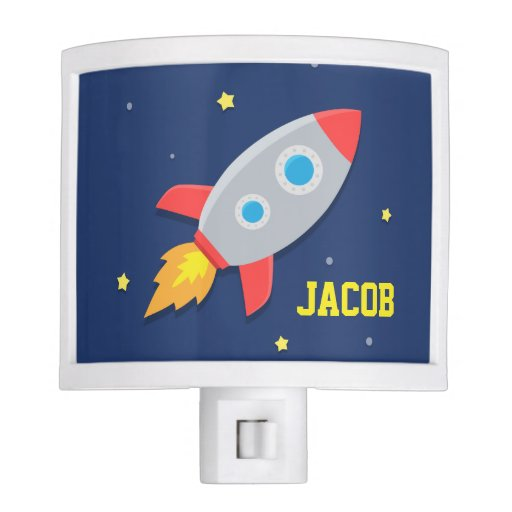 Rocket ship outer space for kids room night light zazzle for Outer space kids room