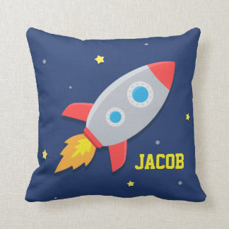 Rocket Ship Outer Space For Kids Room Throw Pillows