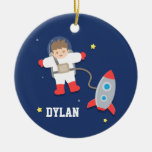Rocket Ship Outer Space Little Astronaut Boys Room Ceramic Ornament