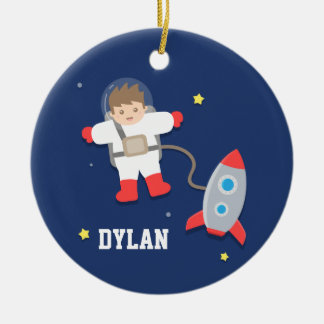 Rocket Ship Outer Space Little Astronaut Boys Room Double-Sided Ceramic Round Christmas Ornament
