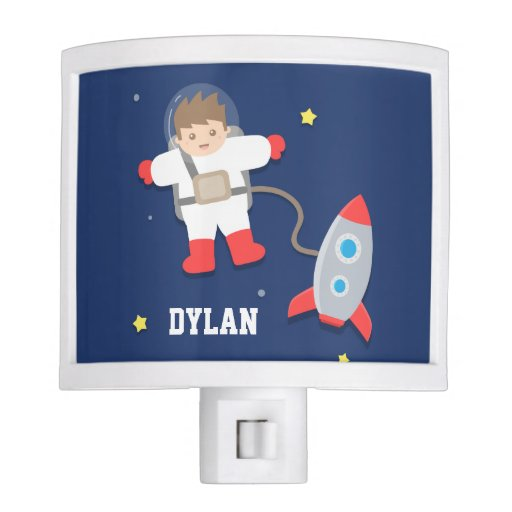 Rocket Ship Outer Space Little Astronaut Boys Room Night
