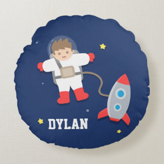Rocket Ship Outer Space Little Astronaut Boys Room Round Pillow