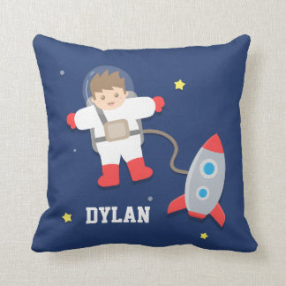 Rocket Ship Outer Space Little Astronaut Boys Room Throw Pillow