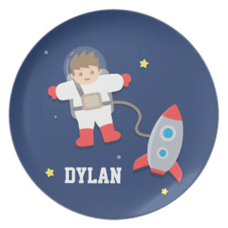 Rocket Ship Outer Space Little Astronaut For Kids Melamine Plate