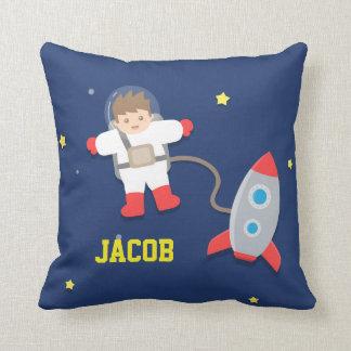 Rocket Ship, Outer Space, Little Astronaut Throw Pillow