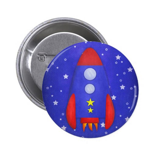 Rocket Ship Party Favor Pinback Button