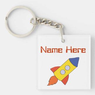 Rocket Ship Personalized Keychain