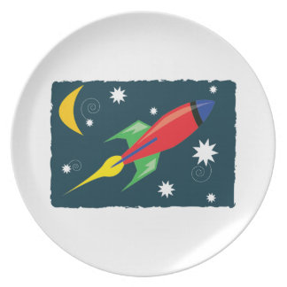 Rocket Ship Party Plate