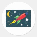 Rocket Ship Round Sticker