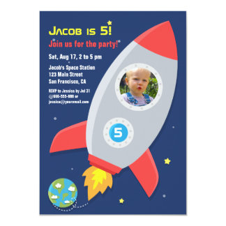 Rocket Ship Space Party Kids Birthday Photo 4.5x6.25 Paper Invitation Card