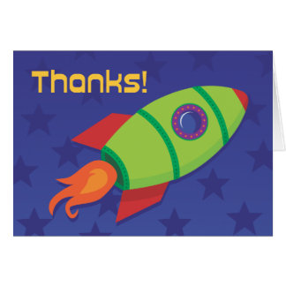 Rocket Ship Thank You: 2nd Grade and Up Stationery Note Card