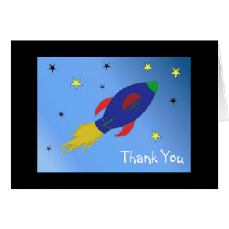 Rocket Ship Thank You Stationery Note Card