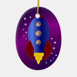 Rocket Ship to the Stars Ceramic Ornament