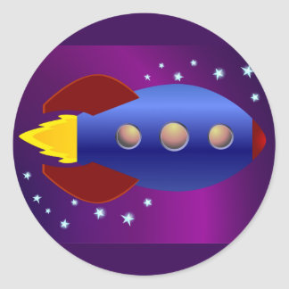 Rocket Ship to the Stars Classic Round Sticker