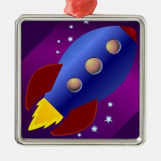 Rocket Ship to the Stars Metal Ornament