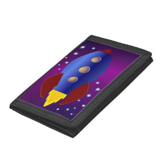 Rocket Ship to the Stars Trifold Wallets