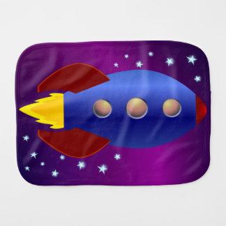 Rocket Ship to the Stars Baby Burp Cloths
