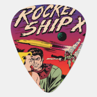Rocket Ship X Vintage Sci Fi Comic Book Cover Guitar Pick