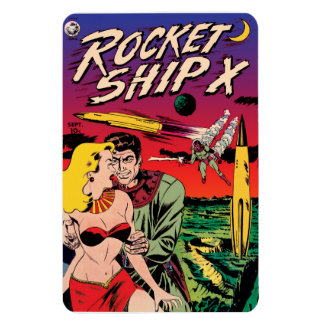 Rocket Ship X Vintage Sci Fi Comic Book Cover Magnet