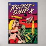 Rocket Ship X Vintage Sci Fi Comic Book Cover Poster