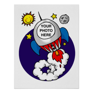 rocket space kid - add your own photo poster