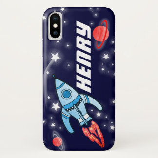 Rocket space navy personalized name iphone case