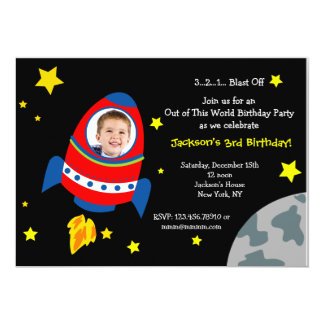 Rocket Space Ship Photo Birthday Party Invitations