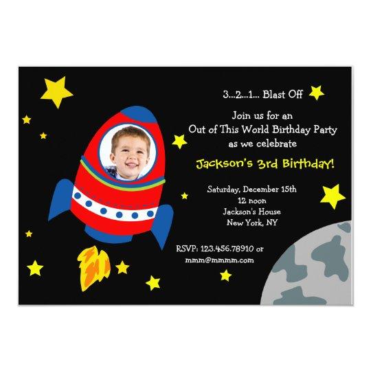 Rocket Space Ship Photo Birthday Party Invitations