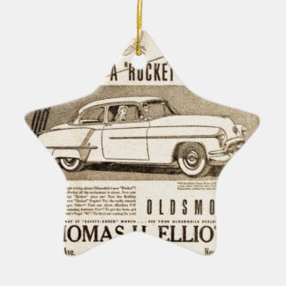 rocket to car AD Ceramic Ornament