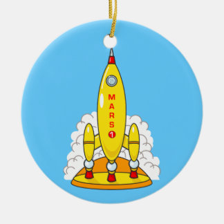 Rocket To Mars Ceramic Ornament