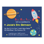 Rocket To Outer Space Party, Kids Birthday 4.25x5.5 Paper Invitation Card