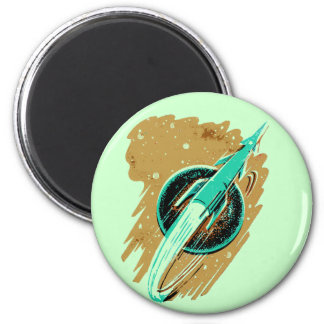 ROCKET TO THE MOON 2 INCH ROUND MAGNET