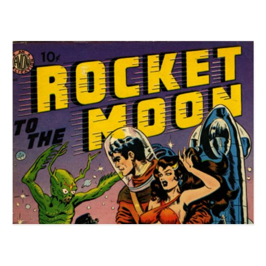 Rockets To The Moon: Rocket To The Moon Comic Postcard