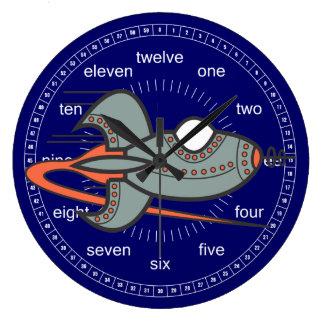 Rocket UTurn Large Clock