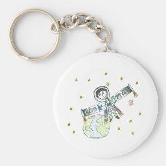 Rocketman Basic Round Button Keychain