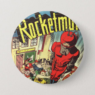 Rocketman vintage comics pinback button