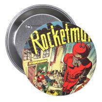 geek, comic, book, sci fi, funny, vintage, rocketman, comic books, cool, funny button, vintage comic books, heroes, retro, superhero, action, rocket man, adventure, pop culture, fun, science fiction, superheroes, popular culture, comics, sci fi comics, pop art, vintage comics, round buttons, Button with custom graphic design