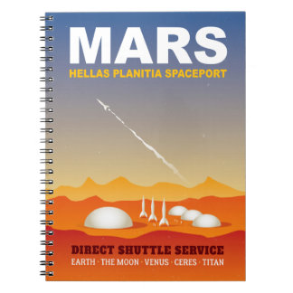 Rockets on Mars Retro Sci-Fi Illustration Notebook
