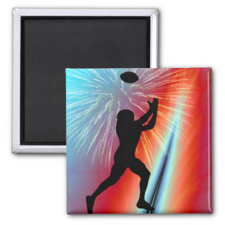Rocket's Red Glare Football Catch 2 Inch Square Magnet