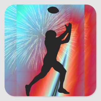 Rocket's Red Glare Football Catch Square Sticker