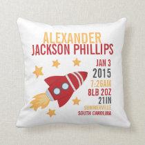 Rocketship Birth Announcement Nursery Pillow