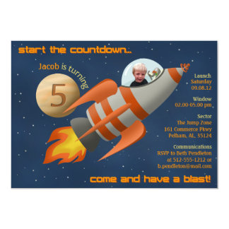Rocketship Birthday Invitation