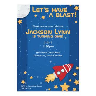 "Rocketship Birthday Invitation 5"" X 7"" Invitation Card"
