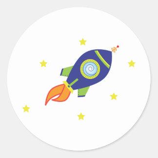 Rocketship Classic Round Sticker