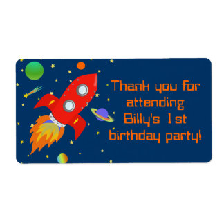 Rocketship Gift Favor Label
