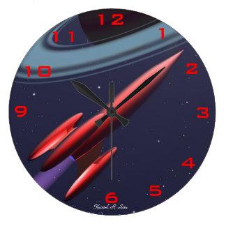 Rocketship rojo reloj redondo grande