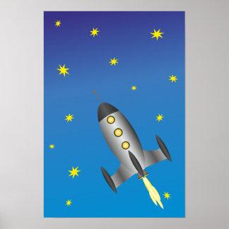 Rocketship starry sky poster