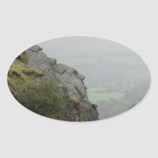 Rockface of St Tydecho - Patron Saint of Mawddwy Oval Sticker