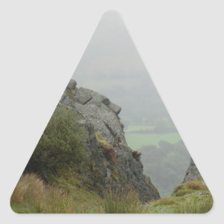 Rockface of St Tydecho - Patron Saint of Mawddwy Triangle Sticker