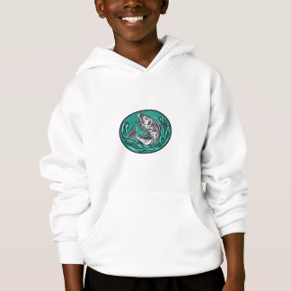 Rockfish Jumping Color Oval Drawing Hoodie